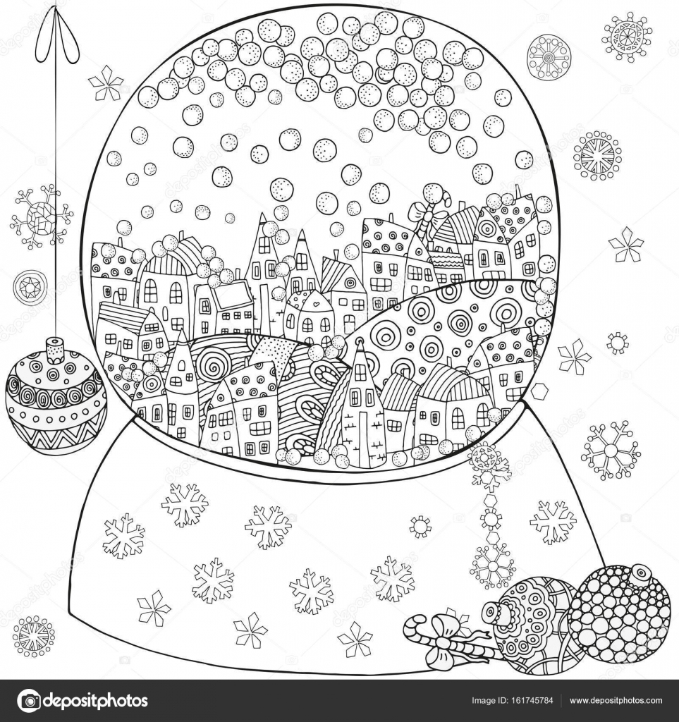 Winter Pattern For Adult Coloring Book Page With Artistically Houses And Snow Snowball Magic City Landscape Zentangle Black White