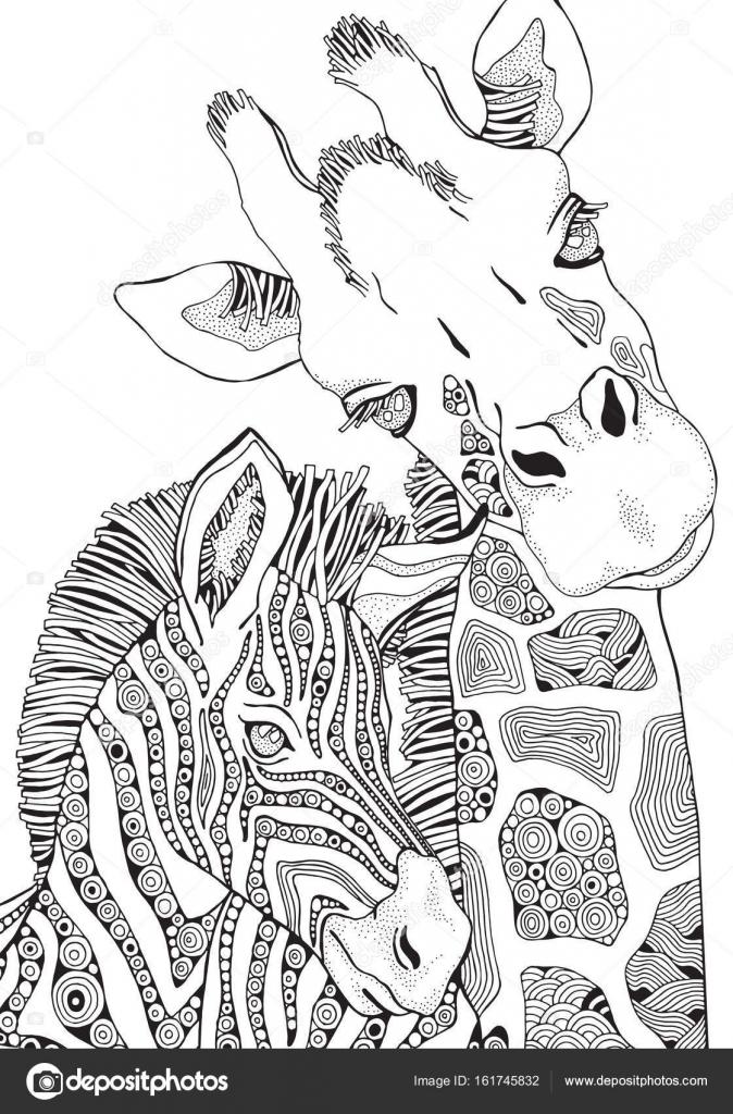 Kleurplaten Voor Volwassenen Giraf.Giraffe En Zebra In Zentangle Stijl Stockvector C Imhope Yandex Ru