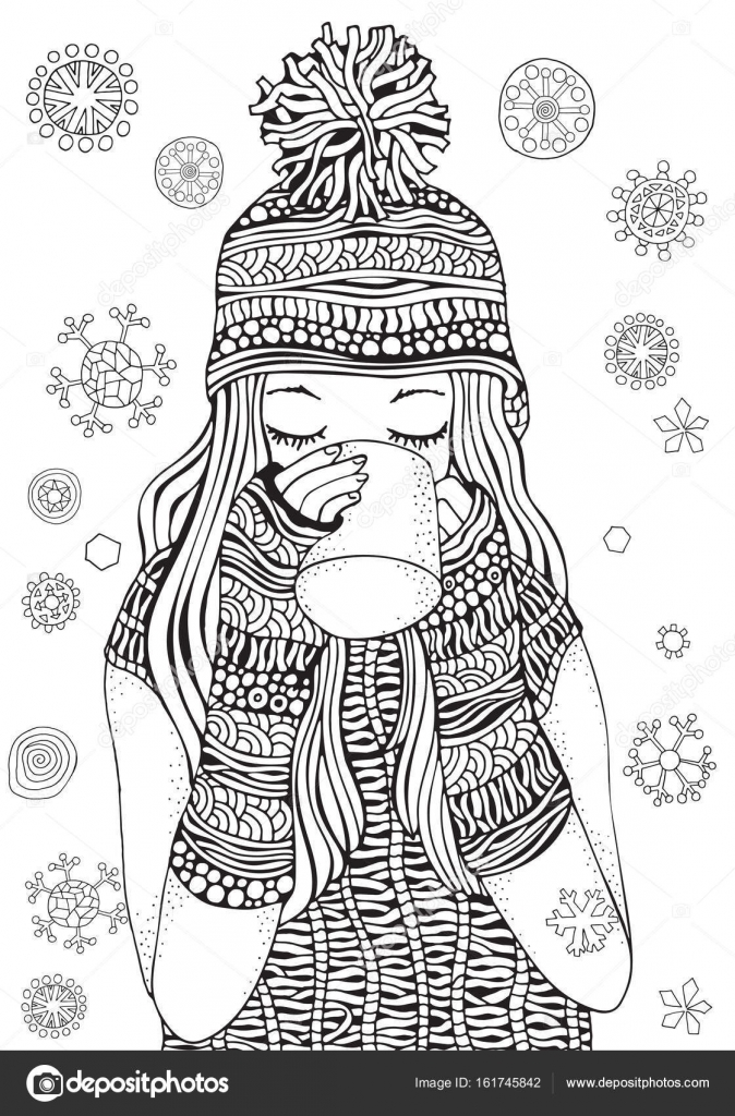 Winter Mädchen Tee trinken — Stockvektor © imhope.yandex.ru #161745842