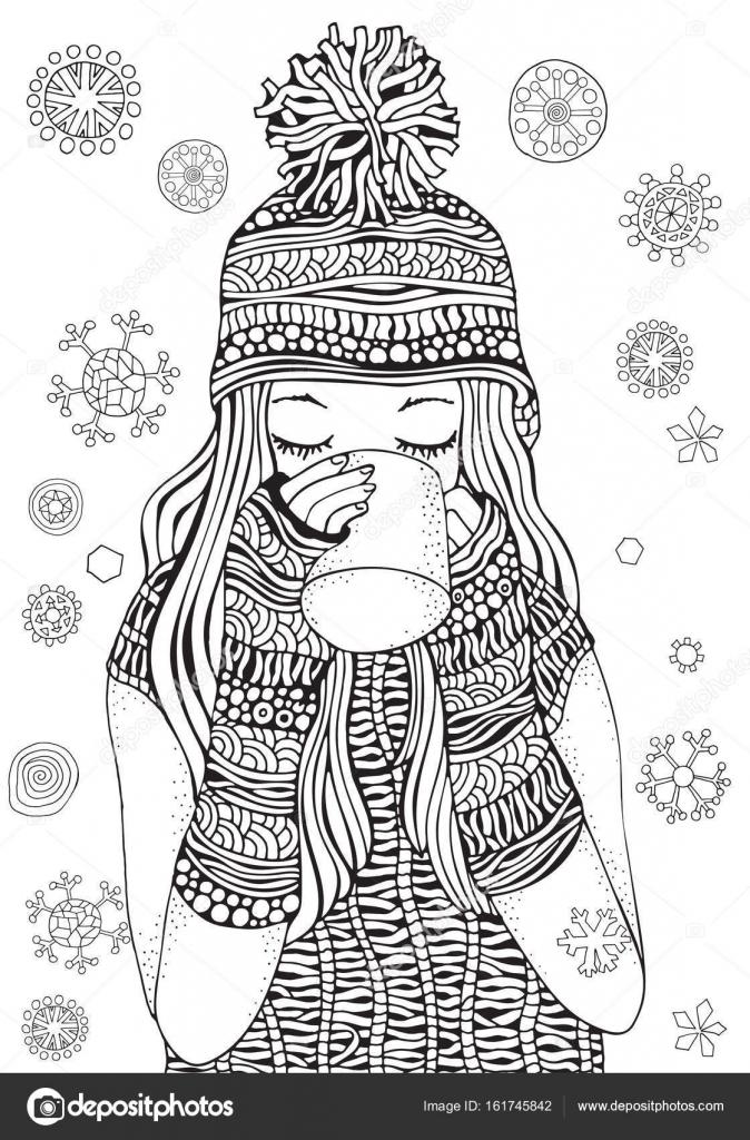 Kleurplaten Winter Voor Volwassenen.Winter Meisje Het Drinken Van Thee Stockvector C Imhope Yandex Ru