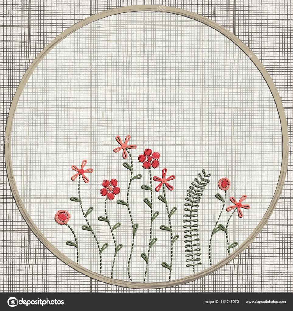 Imágenes: bordados flores | Flores Flores rosas bordado — Vector de ...