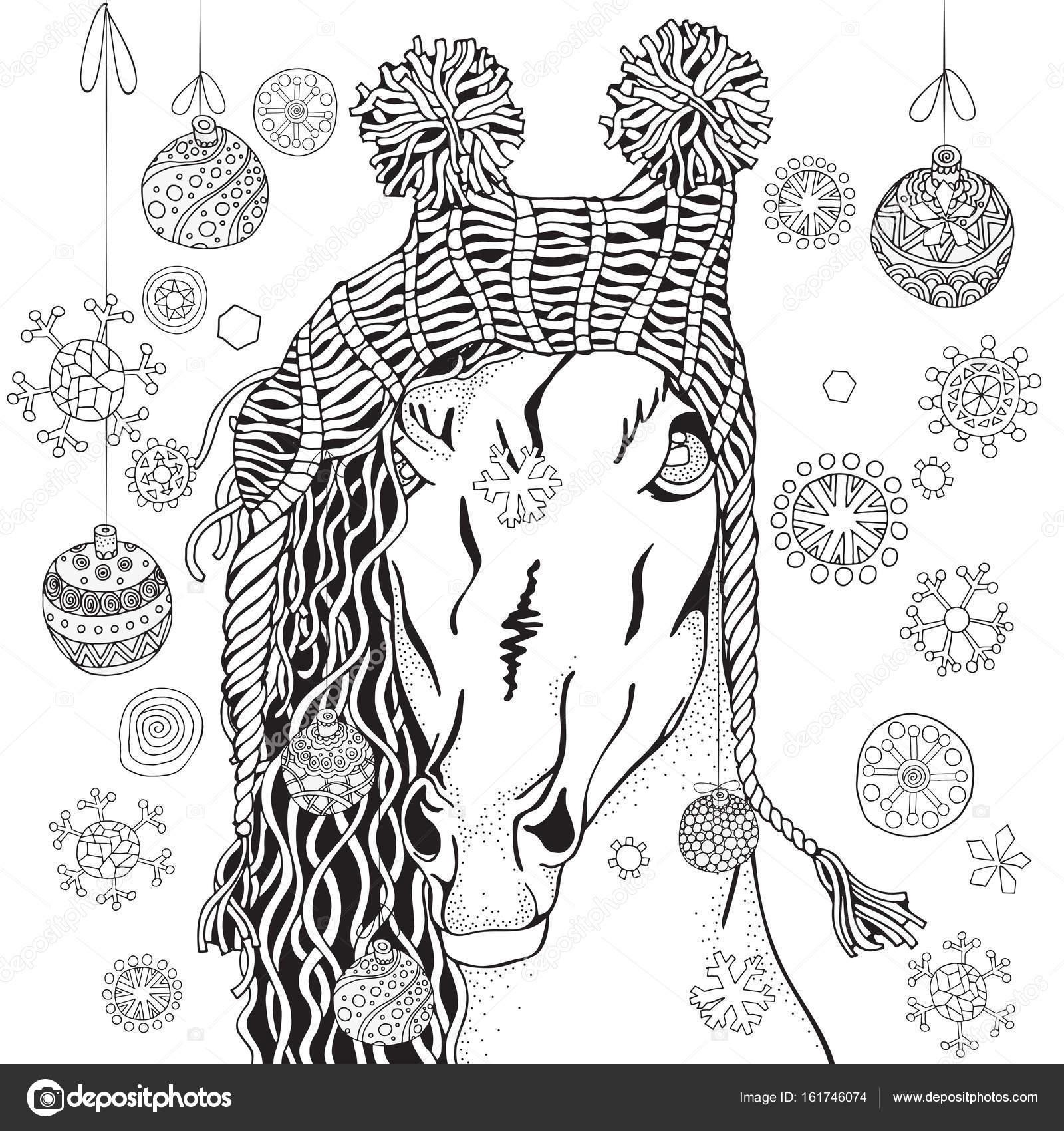 Coloriage Cheval Hiver.Cheval Avec Chapeau Tricote D Hiver Image Vectorielle