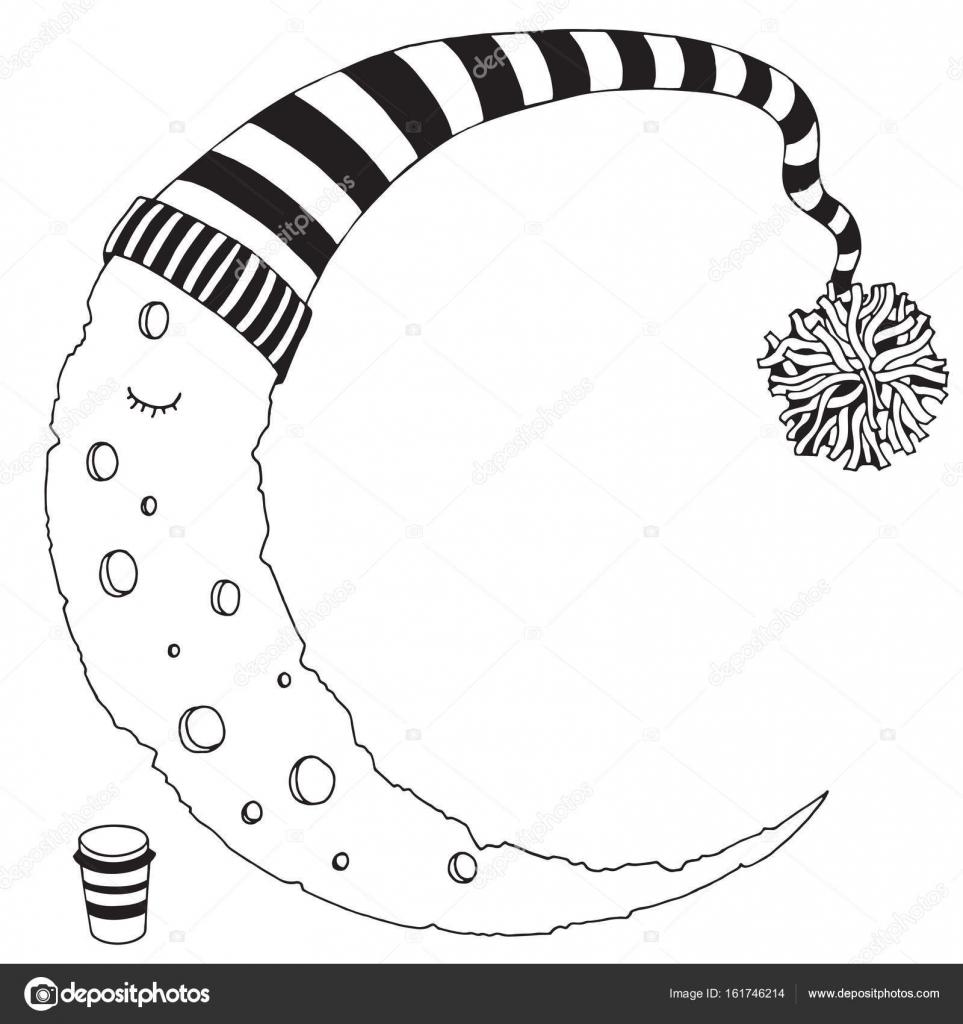 çizgili şapkalı Uyku Ay Stok Vektör Imhopeyandexru 161746214