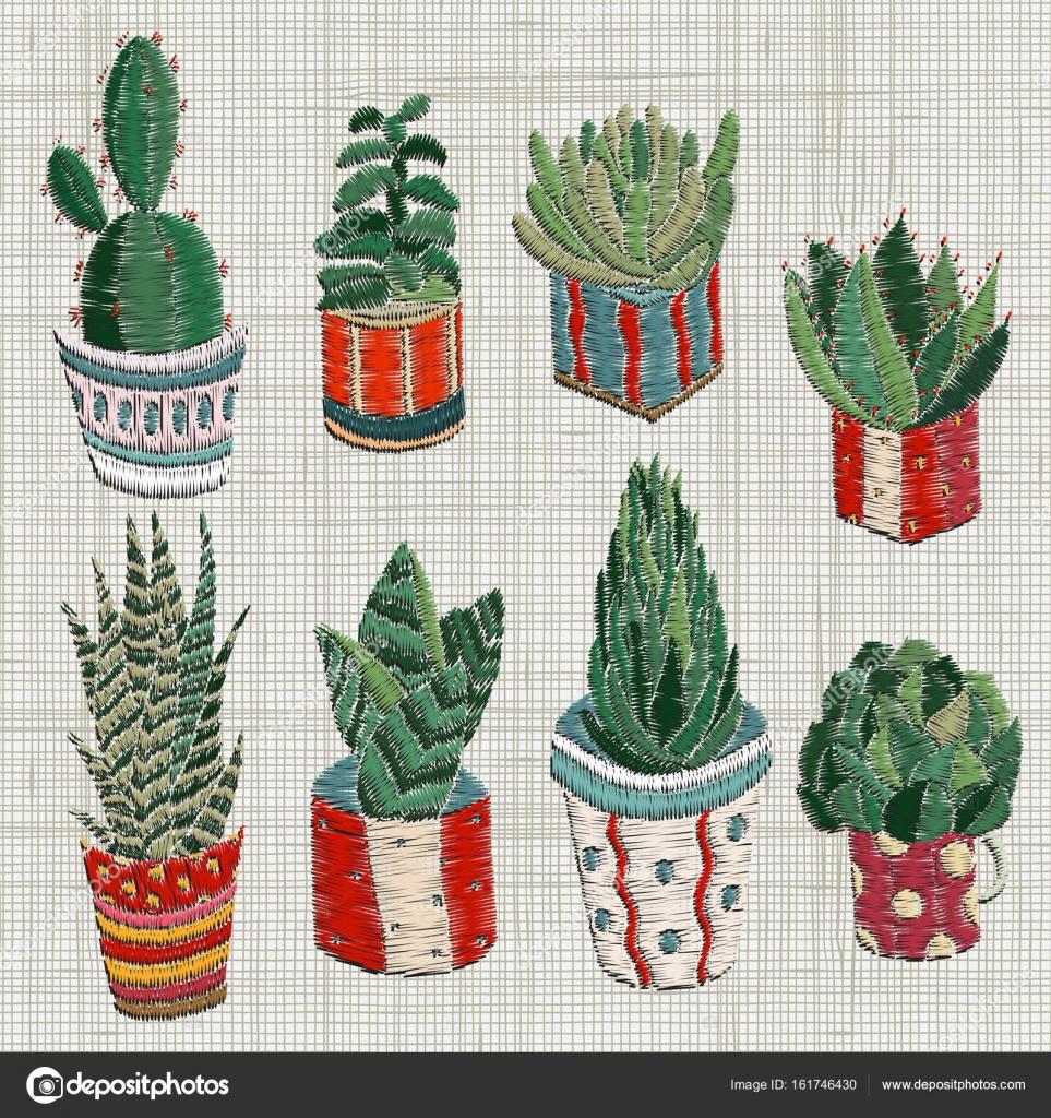 Diseños de bordado con suculentas y cactus — Archivo Imágenes ...