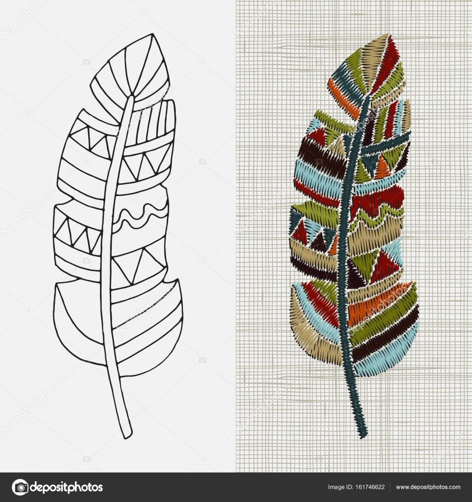 Diseño de bordado con plumas — Vector de stock © imhope.yandex.ru ...