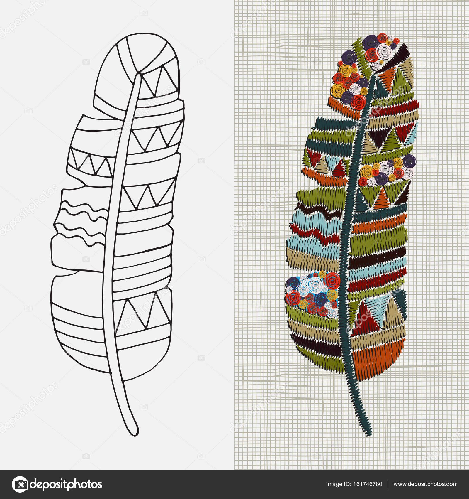 Diseño de bordado con plumas — Archivo Imágenes Vectoriales © imhope ...