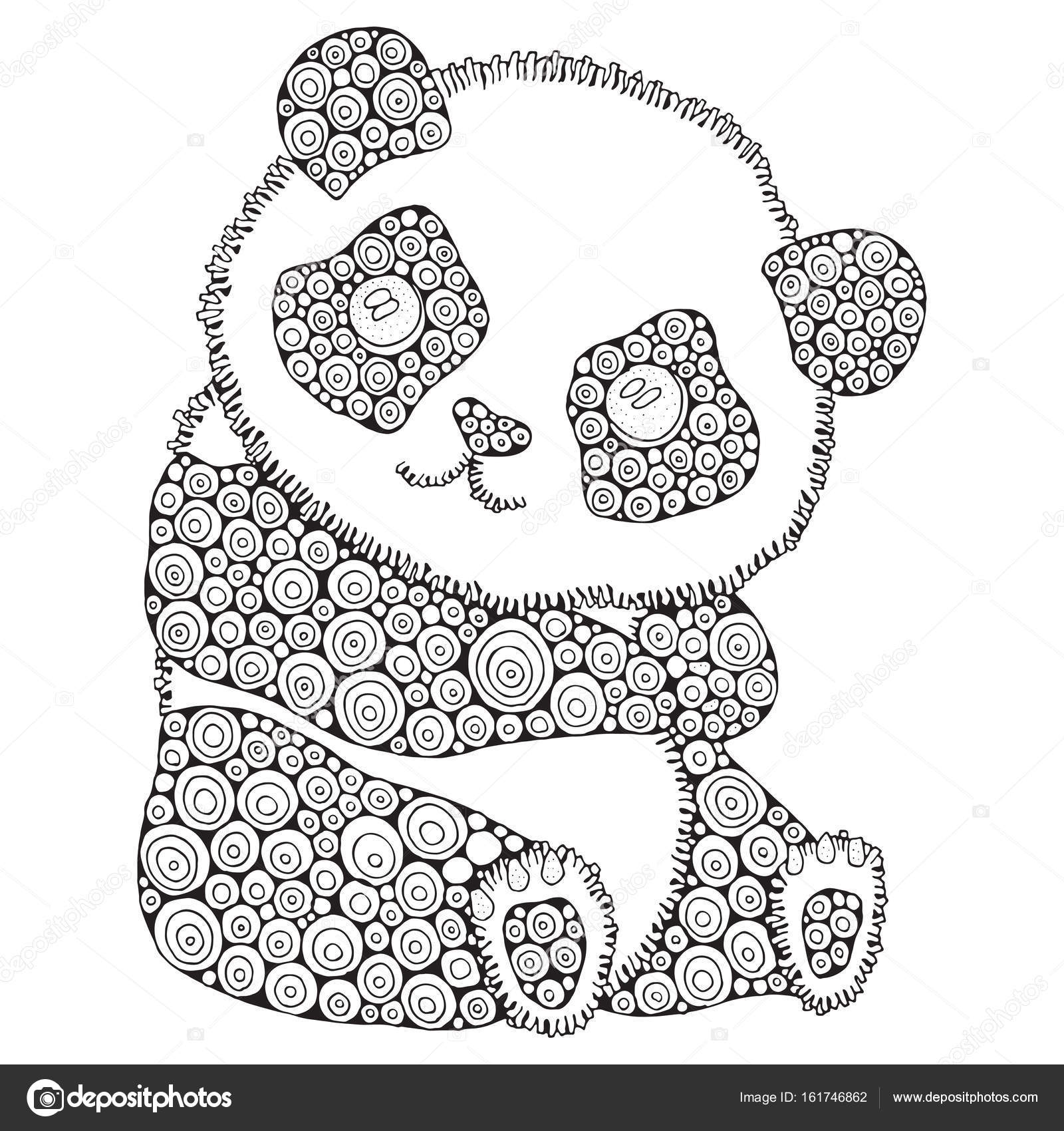 978595d3d9a92 Cute panda. Adult antistress coloring book page. Black and white. Zentangle  style. Hand drawn, doodle, zentangle design elements — Vector by  imhope.yandex. ...