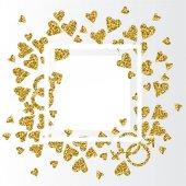 bílý rám s konfety zlaté srdce