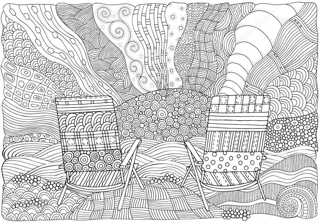 kleurplaten strandstoel kidkleurplaat nl
