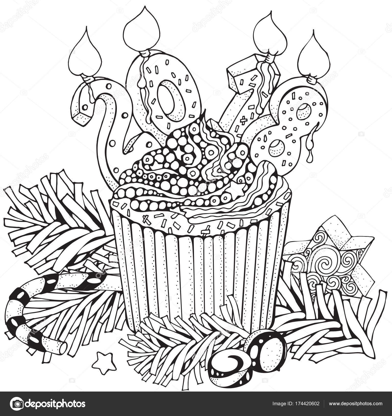 Pastel de año nuevo con vela — Archivo Imágenes Vectoriales © imhope ...