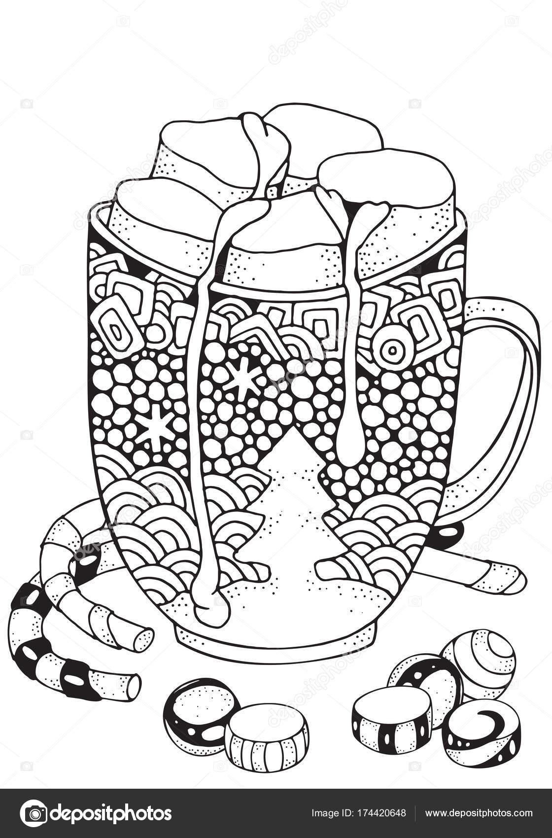 Weihnachts-Tasse mit heißer Schokolade und marshmallow — Stockvektor ...