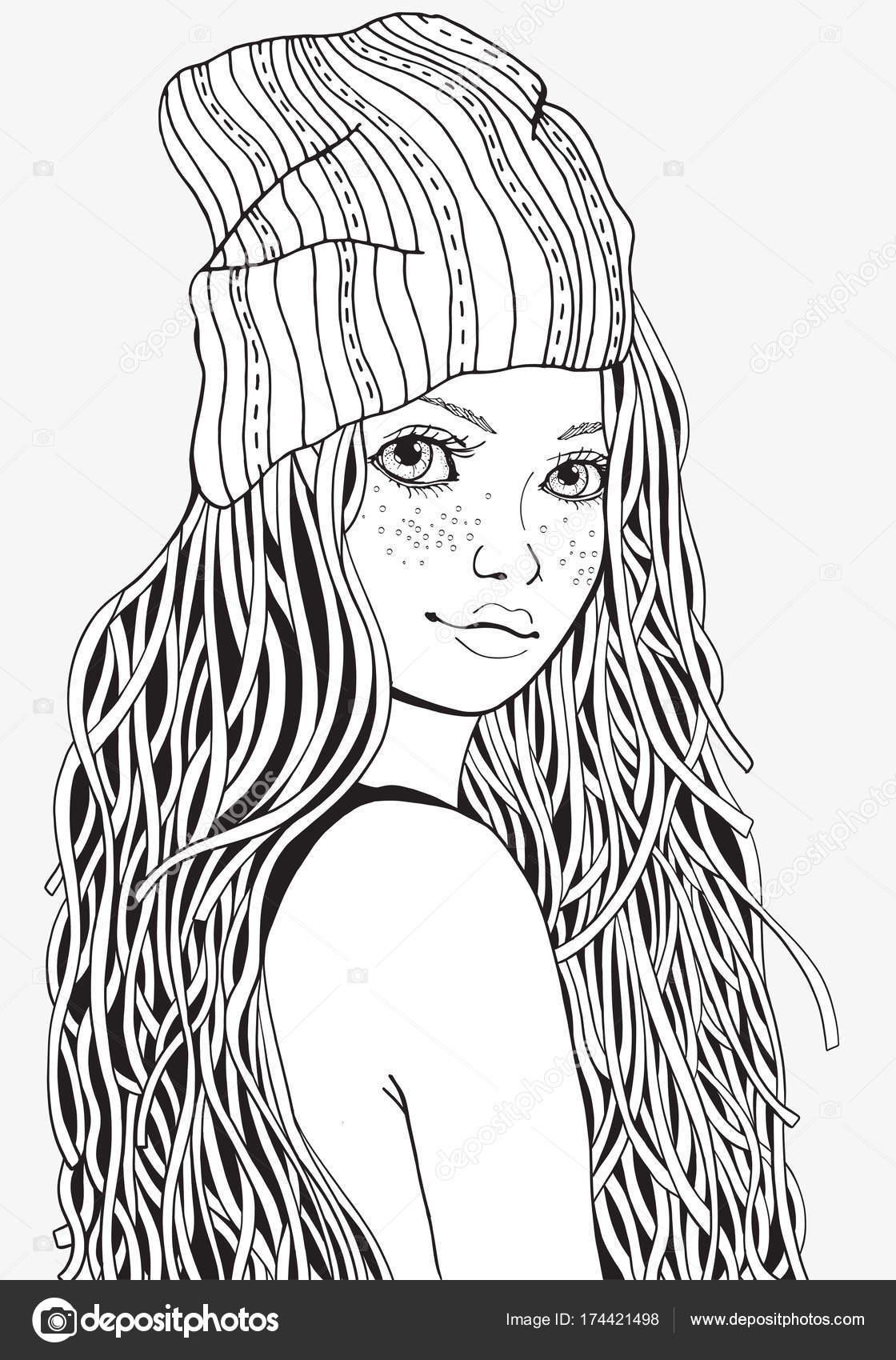 Cute girl. Coloring book page — Stock Vector © imhope ...