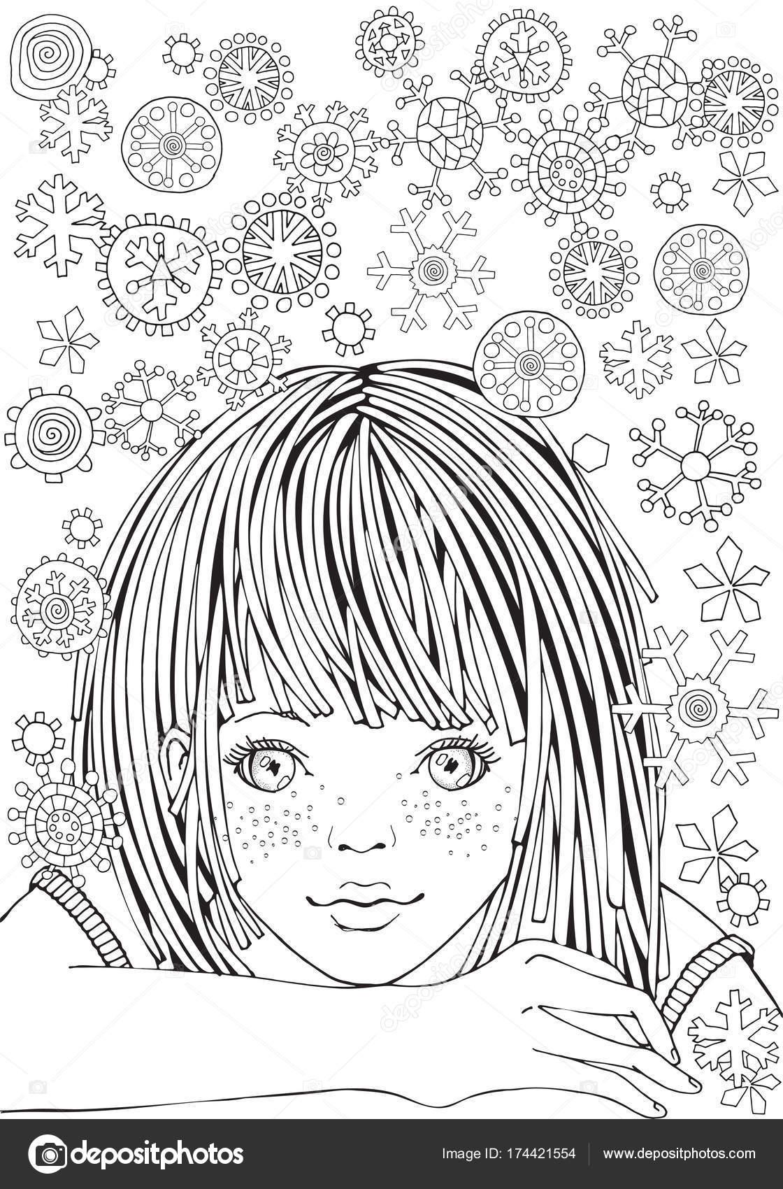 かわいい女の子。大人の塗り絵のパターン\u2013 ストックイラスト