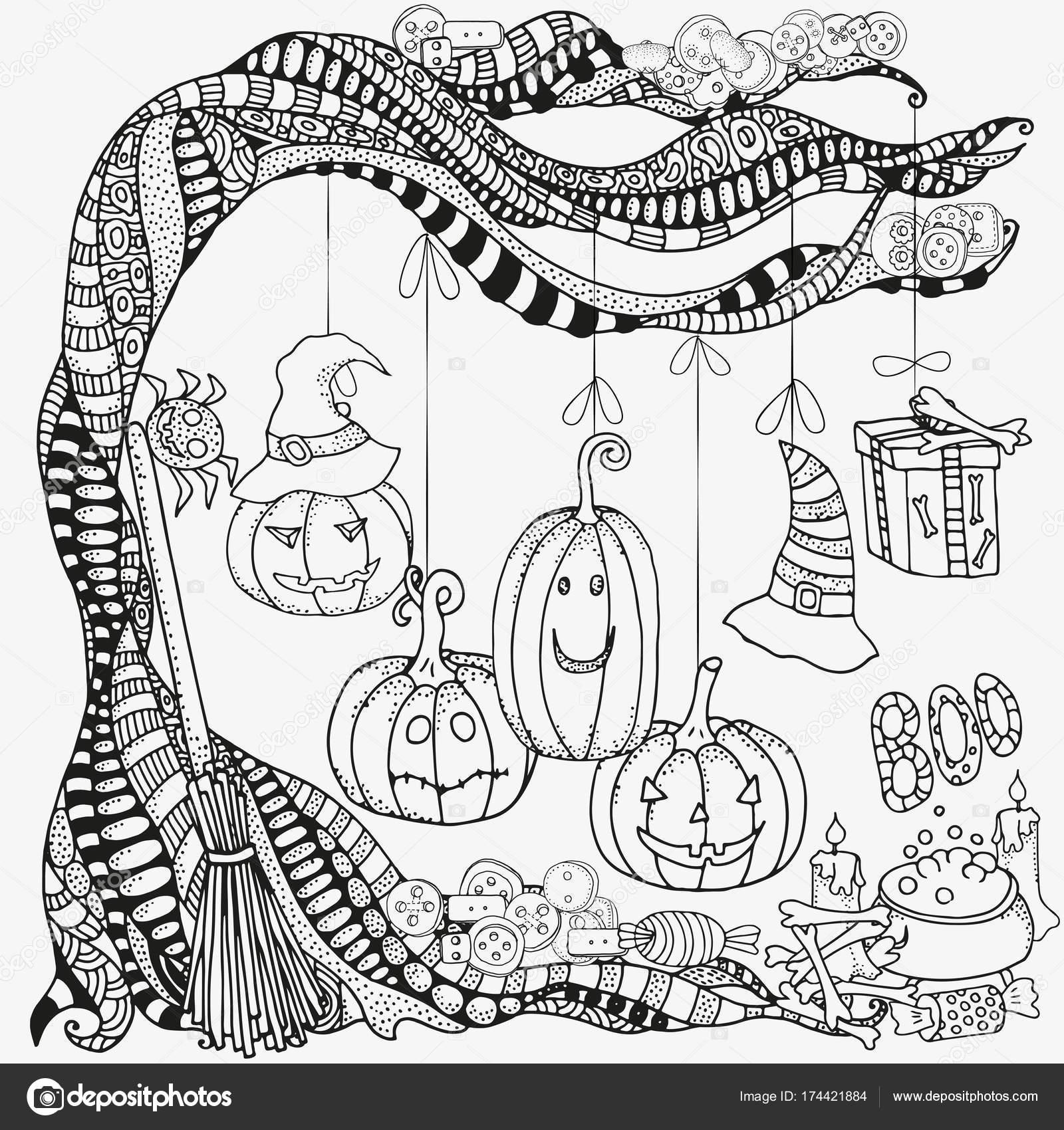 Patrón de Halloween para colorear libro — Archivo Imágenes ...