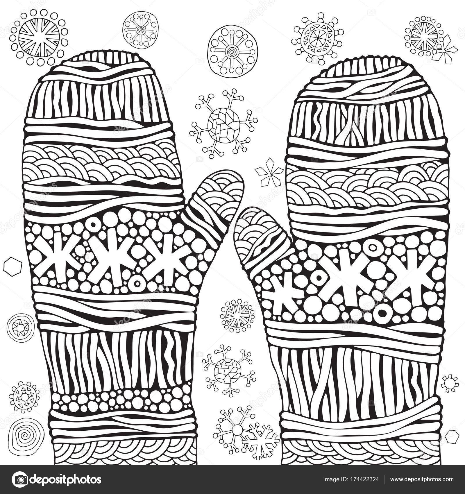 Guantes tejidos con copos de nieve — Archivo Imágenes Vectoriales ...