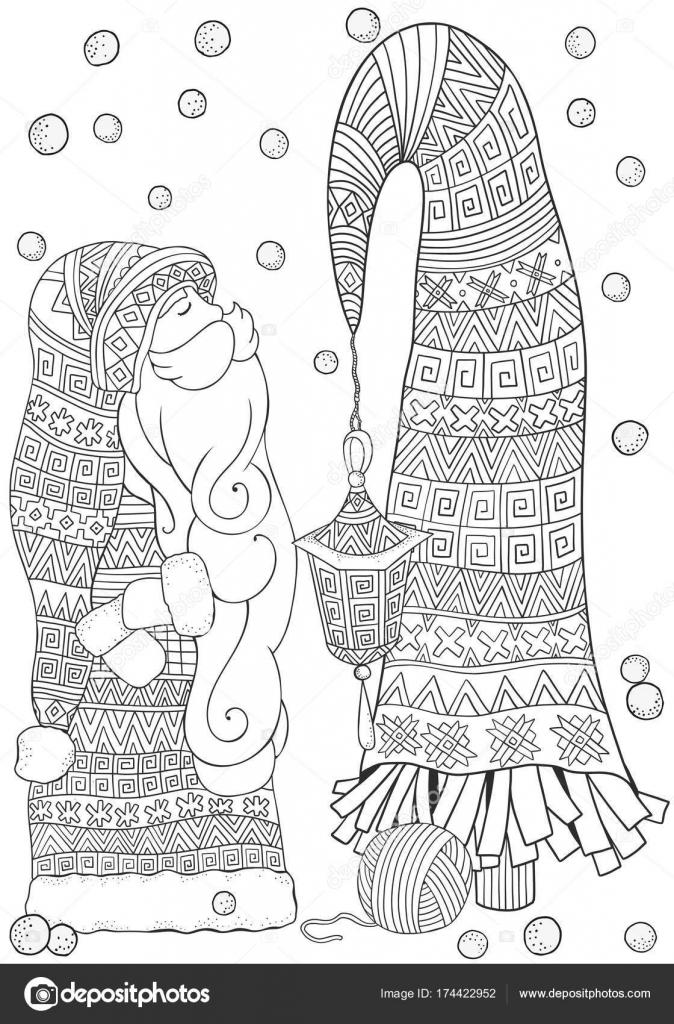 dibujos animados de santa con árbol de Navidad — Vector de stock ...