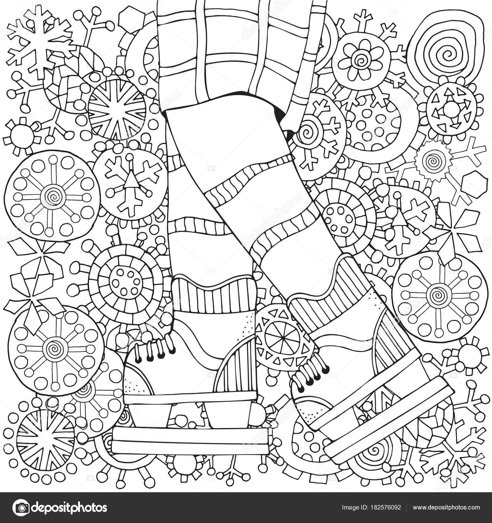冬のスケートの少年 冬の雪 大人ぬりえ本 ベクターの手描きイラスト 足と