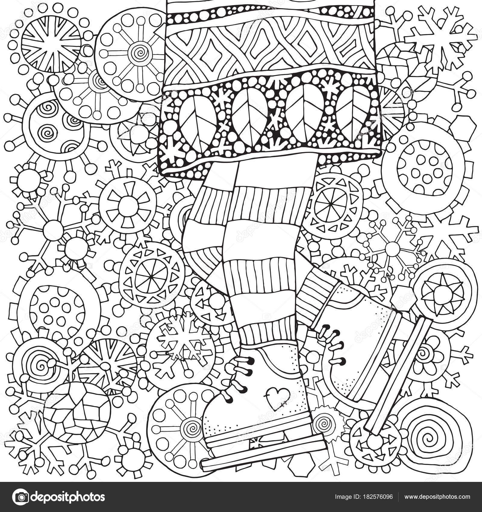 冬のスケート靴をはいた女の子 冬の雪 大人ぬりえ本 ベクターの手描き