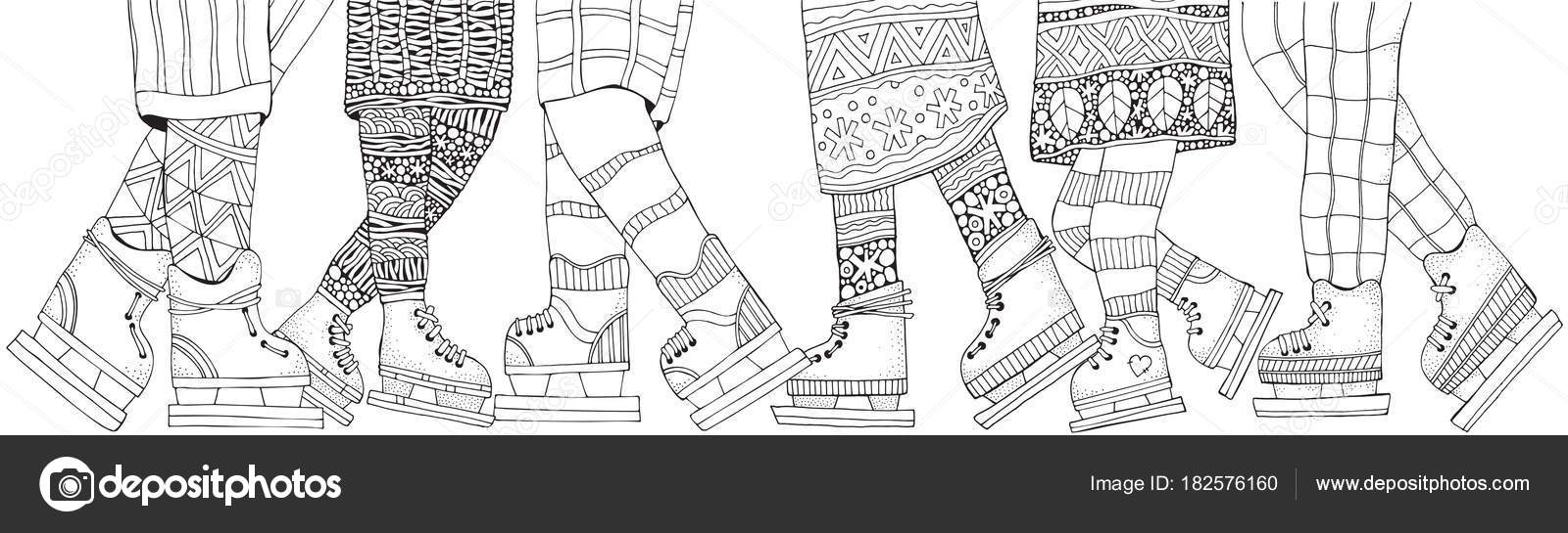 Adult Coloring Book Page Hand Drawn Vector Illustration Horizontal Pattern For With Legs Scandinavian Style Black And White