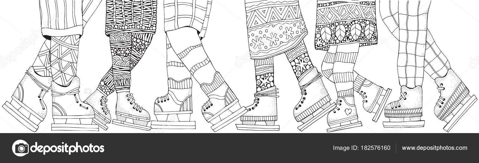 Winter Kleurplaten Schaatsen.Winter Jongens Meisjes Schaats Winter Sneeuwvlokken Volwassen