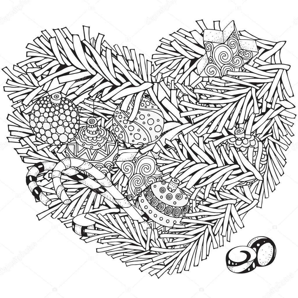 Heart Shaped Pattern With Christmas Tree Branches And Balls Xmas Decoration Coloring Book Page