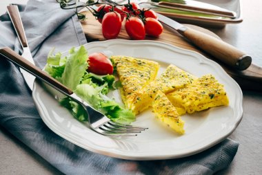 Omelette, parmesan and parsley