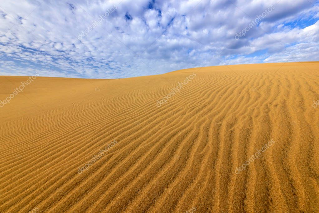 Sand desert with beautiful blue sky
