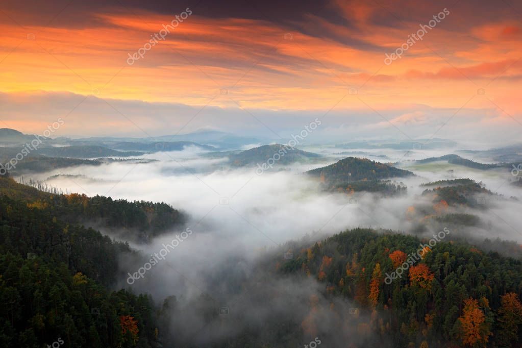 Hills and villages with foggy morning