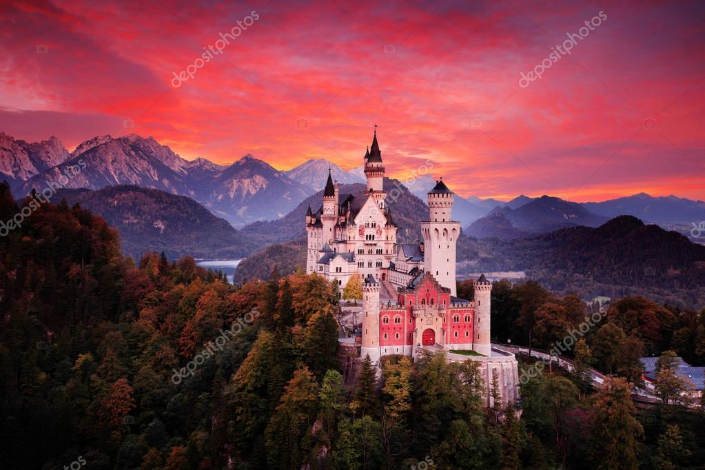 Red evening sky with castle