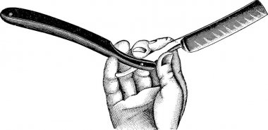 Vintage image hand with razor