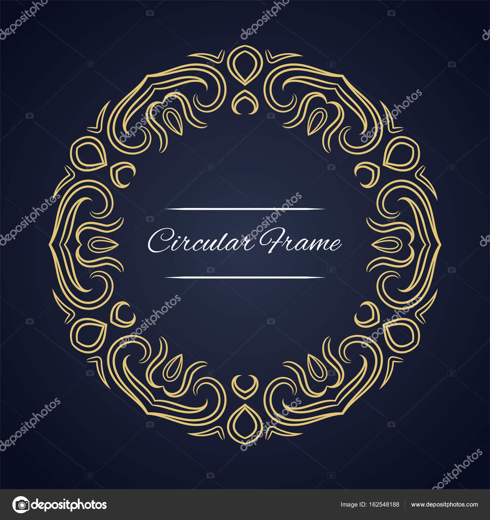 Zirkuläre Vektor Rahmen. Kartenvorlage mit ornament — Stockvektor ...