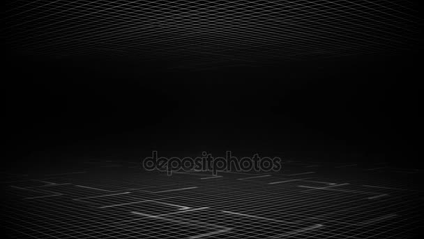 black and white background of grids and moving light lines