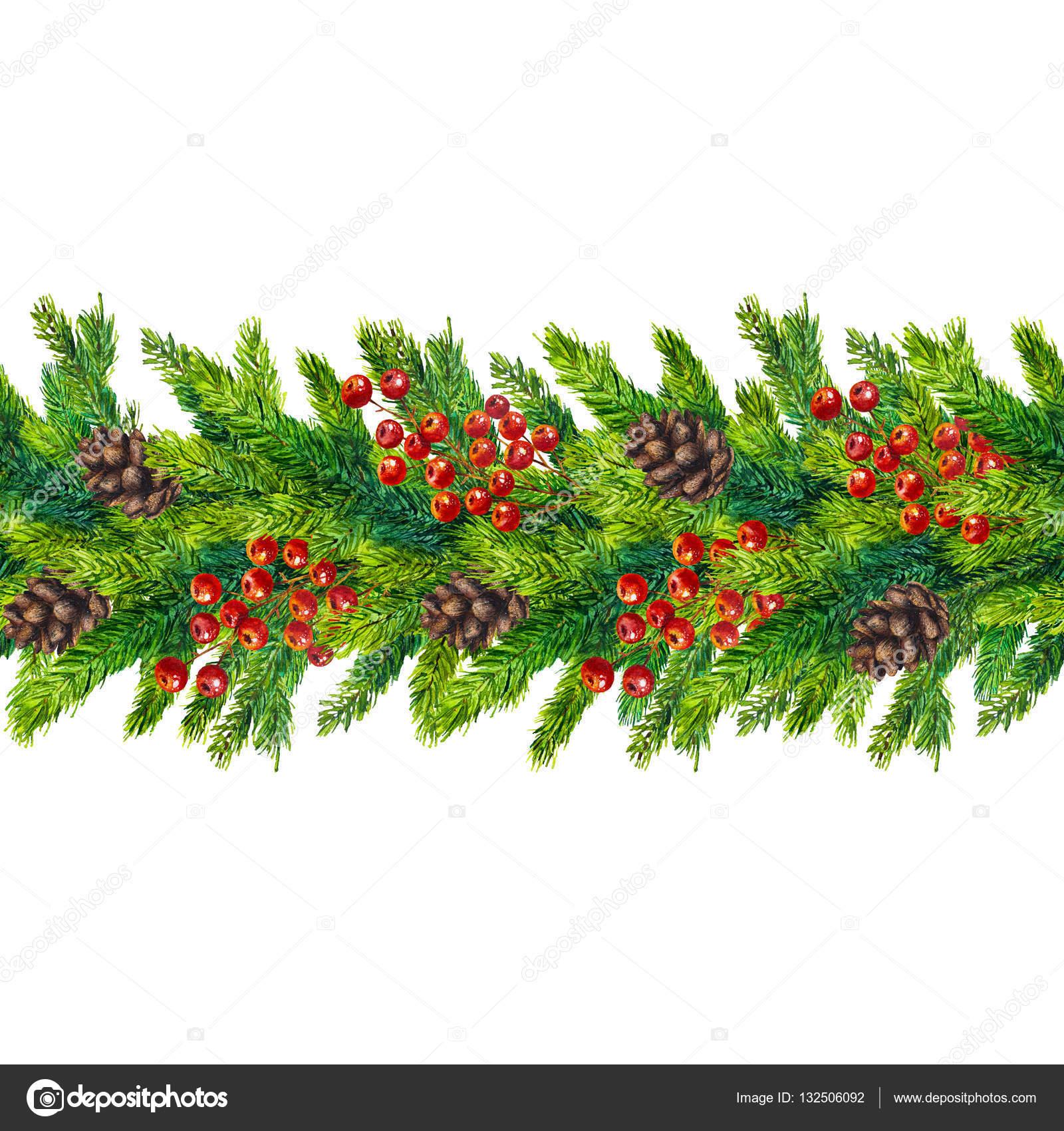 Aquarell weihnachten nahtlose grenzen von tannenzweigen zapfen und beeren stockfoto - Aquarell weihnachten ...