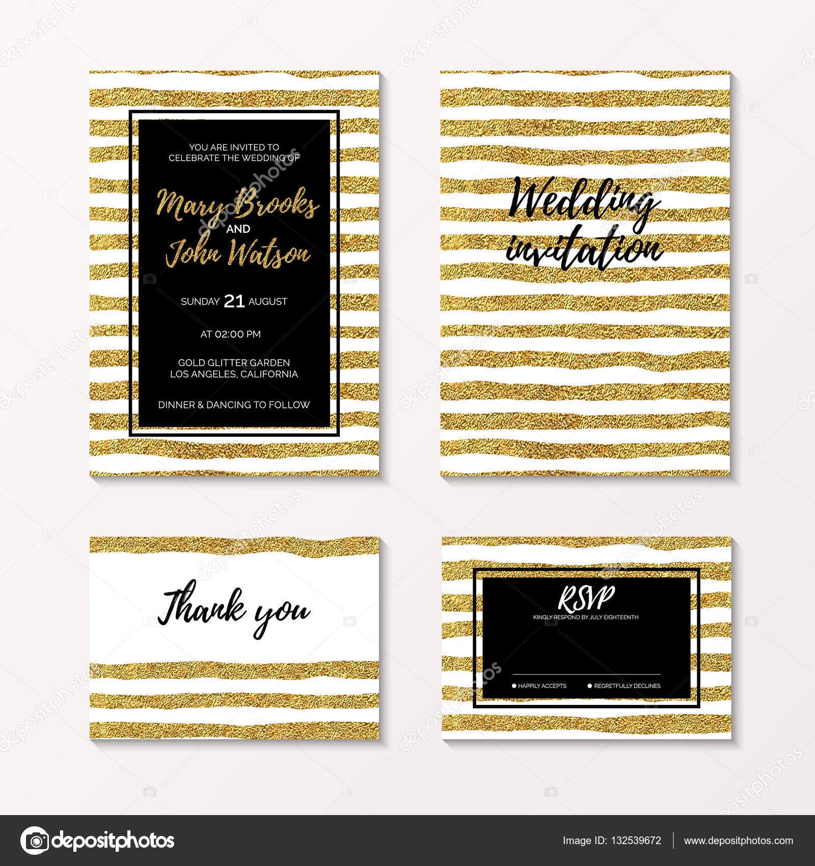 Boda de glitter Oro set de invitación y confirmar su asistencia ...