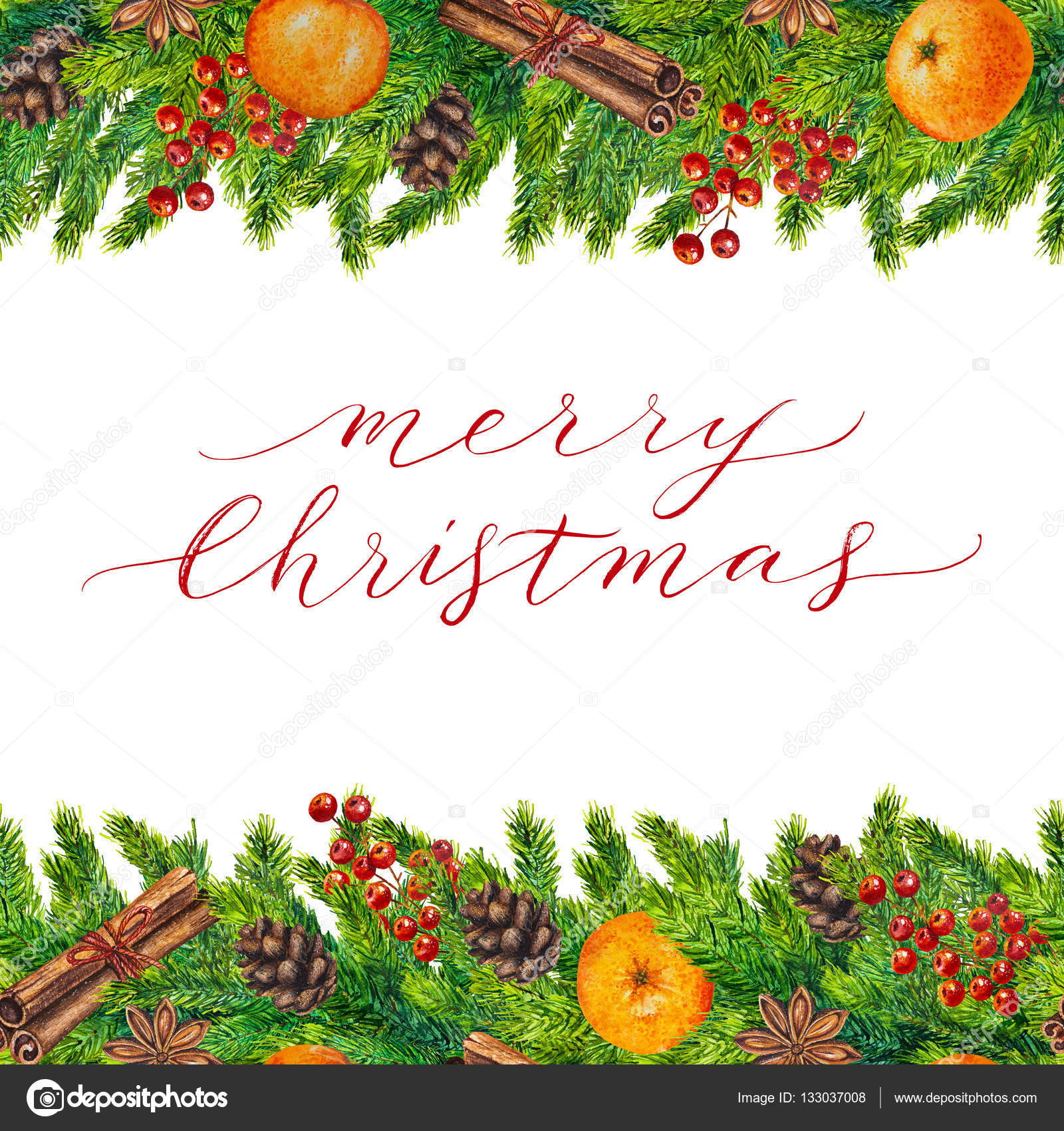 Feliz Navidad tarjeta con marco de acuarela — Foto de stock ...