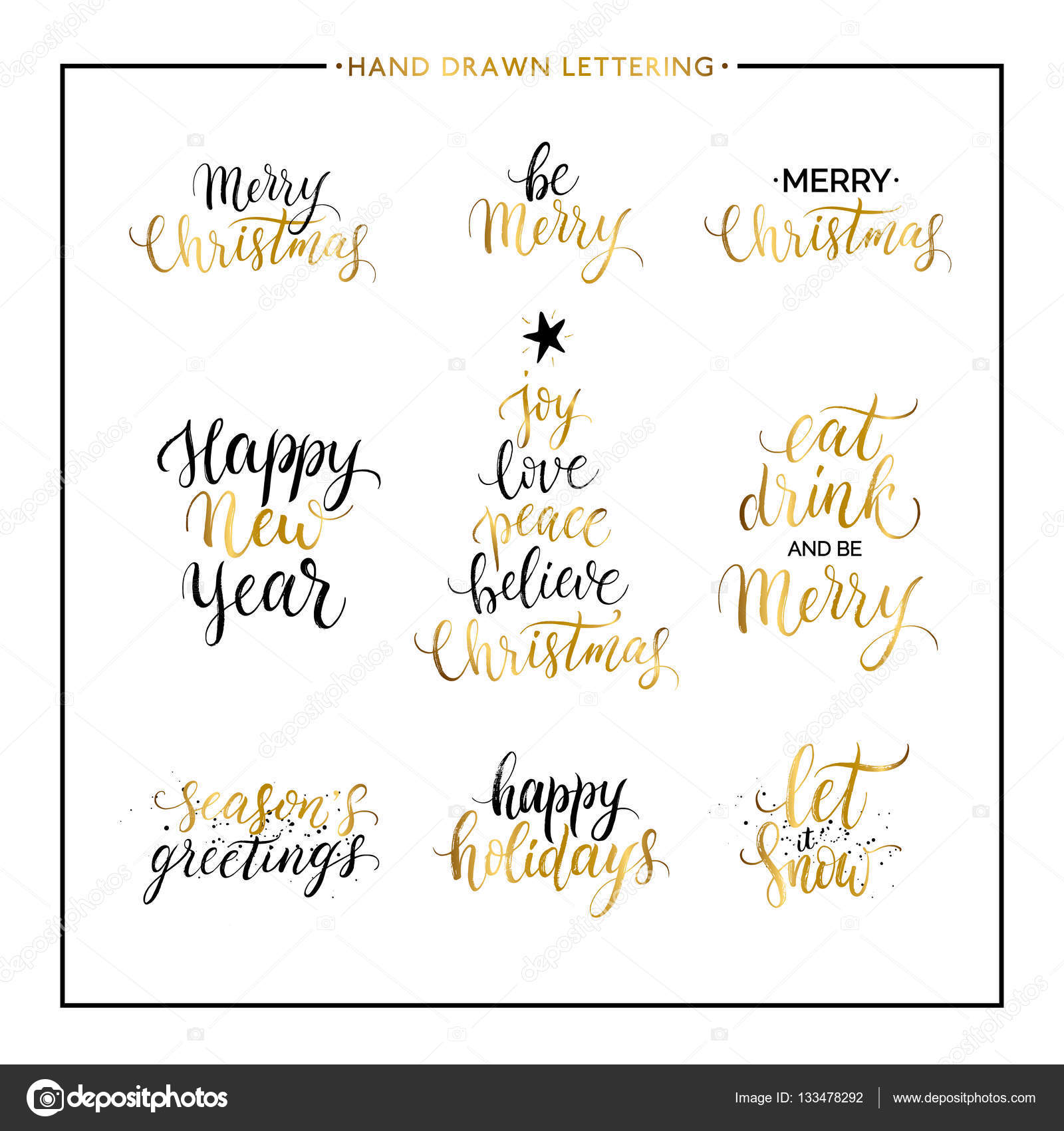 Christmas and happy new year gold quotes stock vector christmas and new year phrases and quotes merry christmas happy holidays seasons greetings let it snow handwritten vector gold xmas lettering for kristyandbryce Choice Image