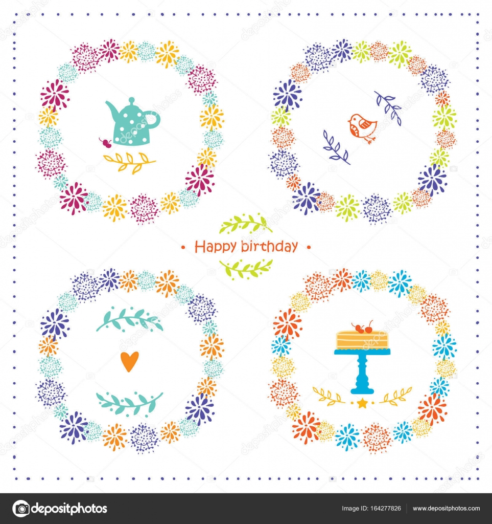Set Of Elements For Birthday Party Greeting Cards Vector