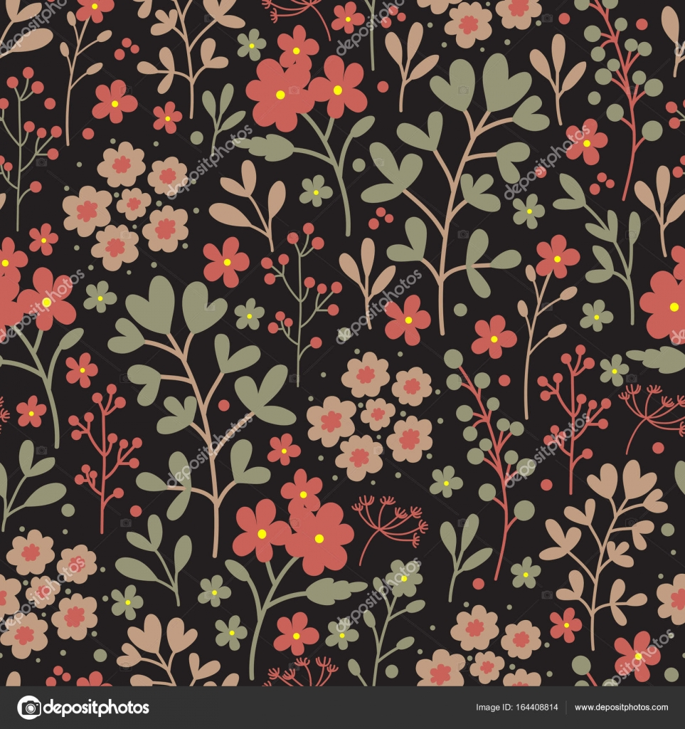 Seamless Floral Pattern With Flowers On Dark Background Vintage