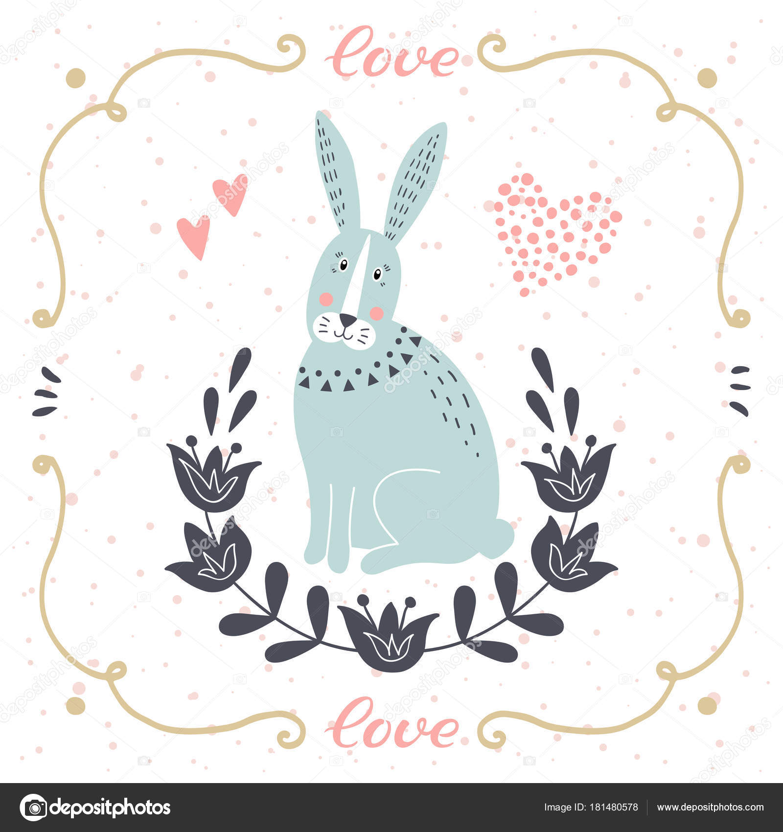 Vector card with cute bunny postcard with love text funny cartoon illustration for childrens prints greetings posters t shirt packaging invites element for your design postcard with love text funny cartoon animal m4hsunfo
