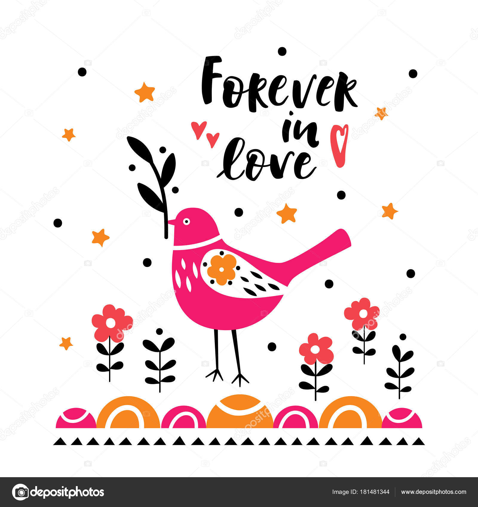 Postcard with cute bird illustration for childrens prints postcard with cute bird illustration for childrens prints greetings posters t shirt packaging invites postcard with forever in love text m4hsunfo