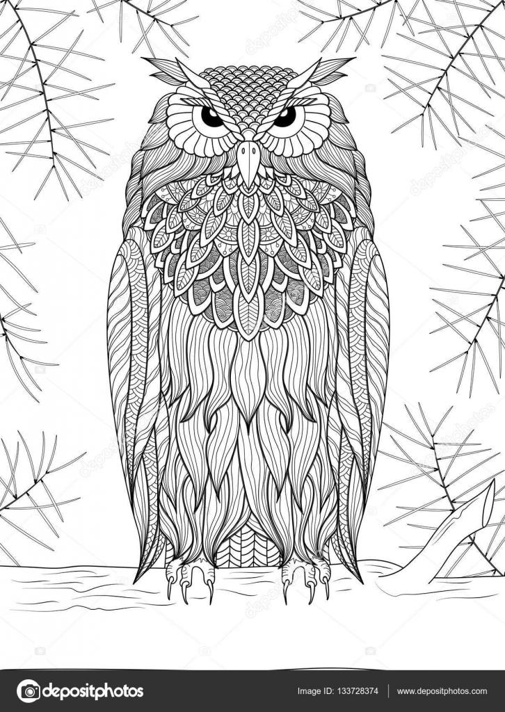 ilustração em vetor openwork coruja em um galho de pinheiro preto
