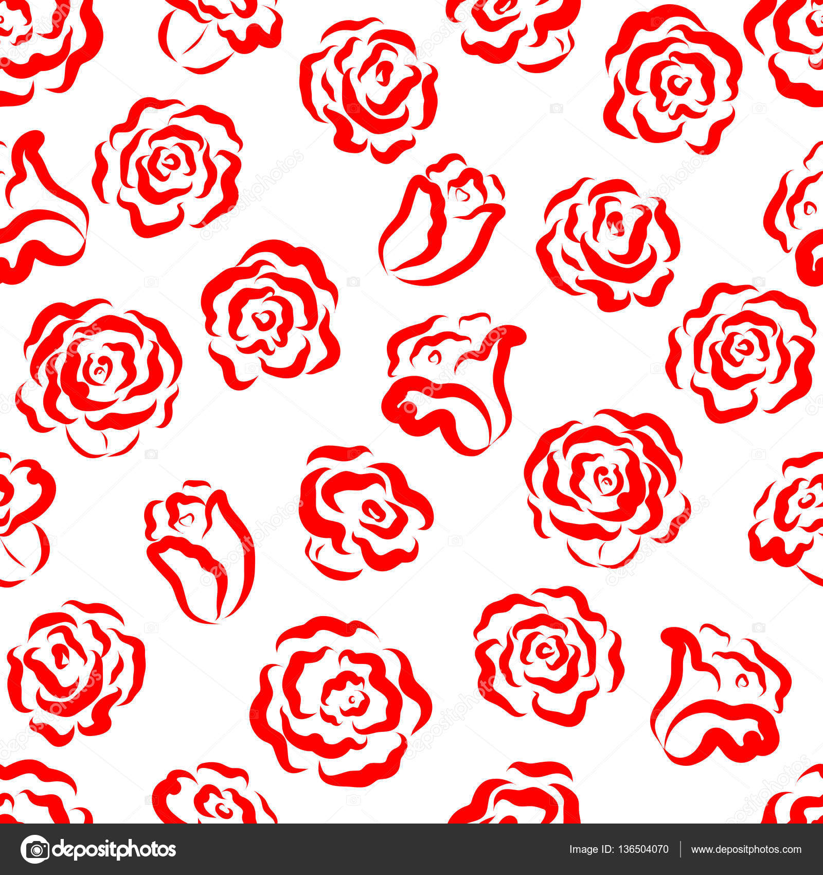 Seamless Floral Pattern Red Roses And Buds On A White Background For Design Backgrounds