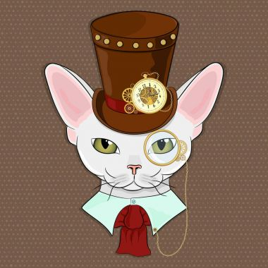 Vector illustration. Cat breeds Devon Rex in the style of steam punk. A cat dressed in a Victorian style with mechanical accessories.