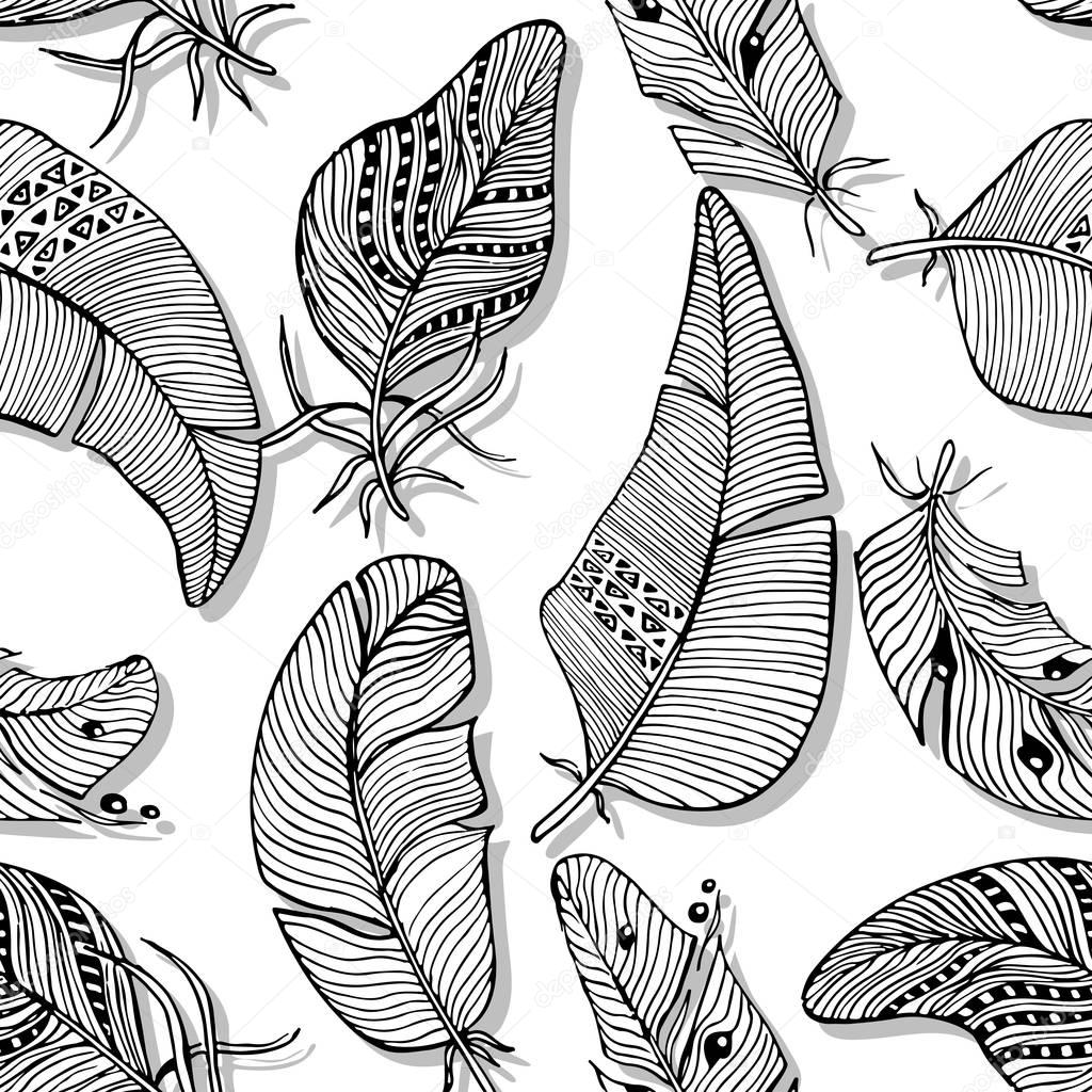 Vector seamless pattern. The monochrome background of various hand drawn feathers on white background.