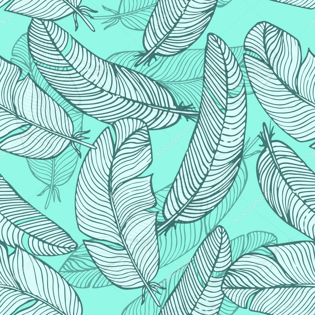 Vector seamless pattern. Background of a variety of hand drawn feathers for decoration.