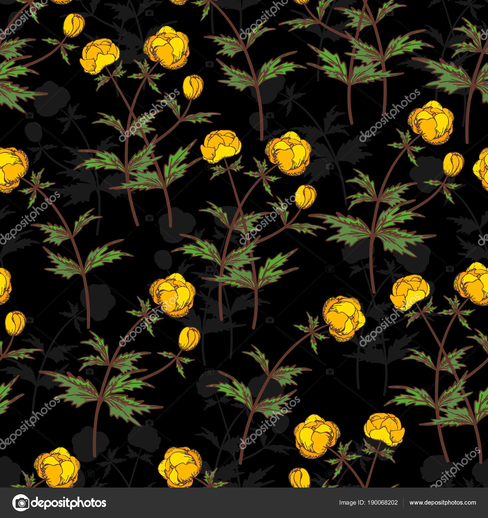 Seamless Vector Floral Pattern Floral Background Of Yellow