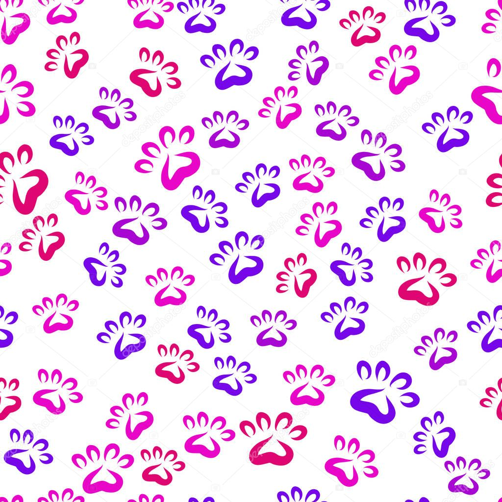 Seamless vector pattern. Fun background of colorful prints of cat paws.