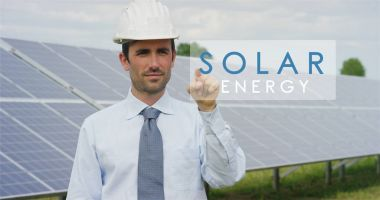 A futuristic technical expert in solar photovoltaic panels, selects the