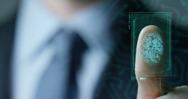 slow motion of scan fingerprint biometric identity and approval. concept of the future of security and password control through fingerprints in an advanced technological future and cybernetic