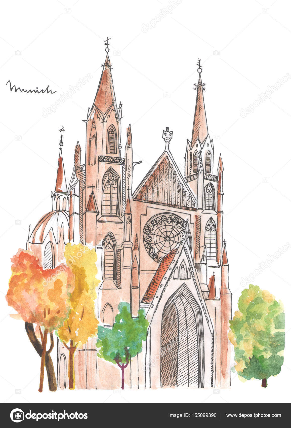 Watercolor cathedral sketch on white background. — Stockfoto ...